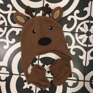 The Children's Place Reindeer Hat and Booties